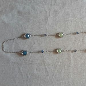 Ann Taylor Loft Blue, Green and Silver Necklace